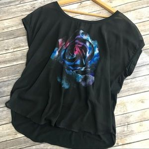 Torrid Black Flowy Short Sleeve Rose Blouse, 2X